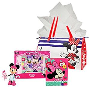 Disney Minnie Mouse Birthday Gift Bundle: Minnie Sleep Over Toy, Notepad with Markers, Floor Puzzle Plus Zippered Tote and Tissue Paper
