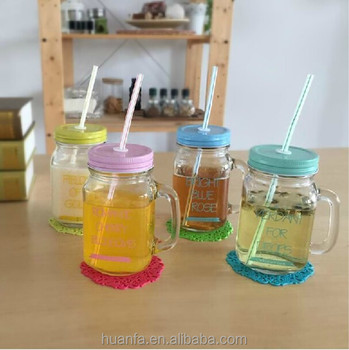 wholesale new products 20 oz glass mason jar with handle juice cocktail cold tea drinks - Mason Jar Drinking Glasses