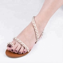 Latest Design Ladies Flat heel Fancy Sandals With Pearls