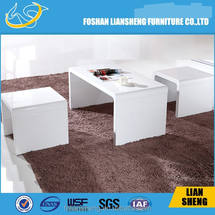 2015 hot selling high gloss white nesting coffee table,side table
