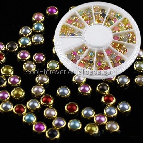 2015 new style 4mm multi-colored edge DIY pearl nail art decoration