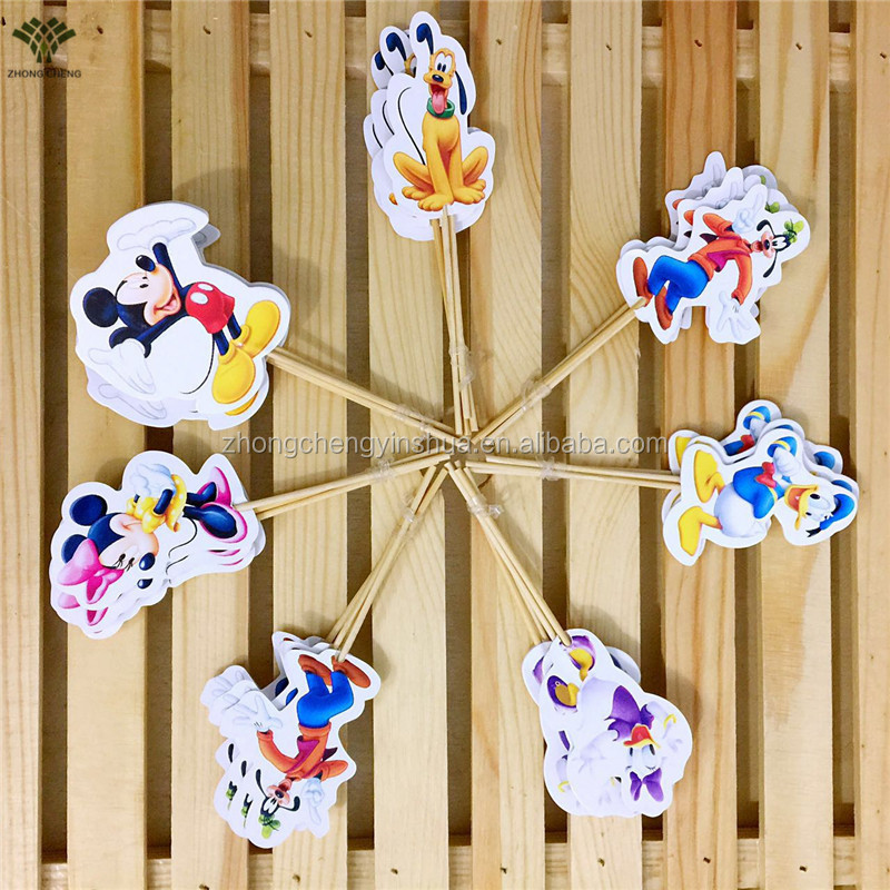 Mickey&Minnie Mouse Cake Topper Cartoon Cupcake Topper Picks Kids Birthday Cake Decoration