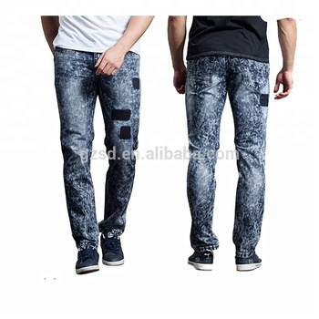 25b71206 2016 new style navy blue snow wash pattern printing narrow bottom wash men  trousers jeans