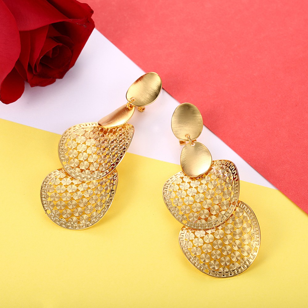 2017 New Style Earrings Saudi Gold Jewelry Roundness Earring Pure ...