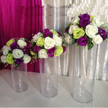 Tall Acrylic Cylinder Vase Clear Round Plastic Wedding Table Road Lead Flower