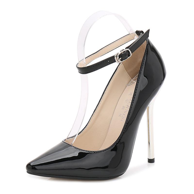 93cfce9325 Compre 13 Cm De Salto Alto Mulheres De Couro Sapatos De Bombas ...