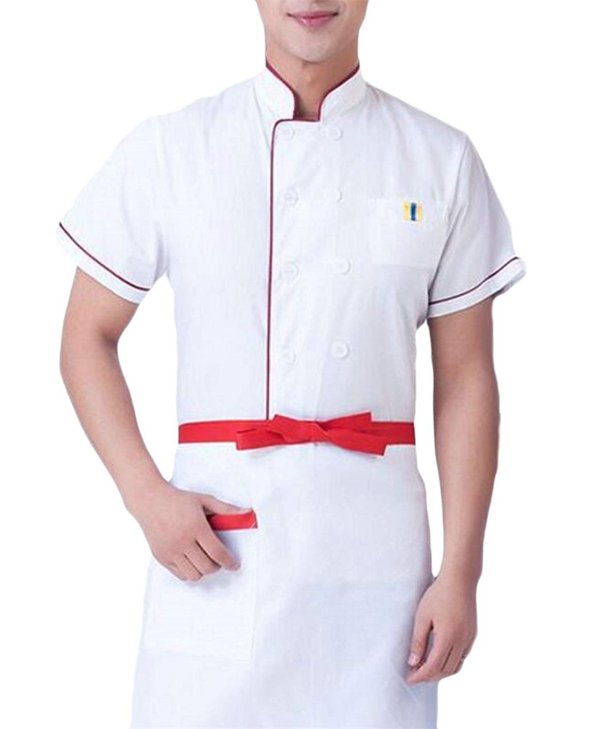 XiaoTianXin-men clothes XTX Men's Short Sleeve Unisex Cooking Shirt Waiter Chef Jacket