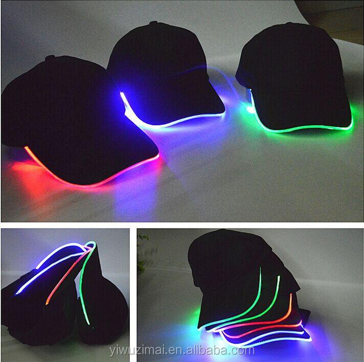 LED Lighted Up Hat Glow Club Party Baseball Hip-Hop Adjustable Sports Black Cap