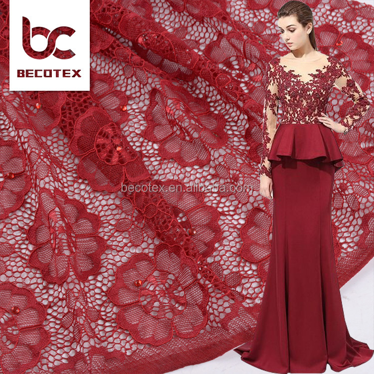 China Factory fashion design Cheap hollow pattern polyester lace fabric