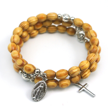 Wooden Wrap Bracelet Religious Rosary Bracelets