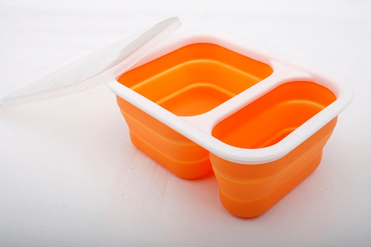 FDA food grade home use flexible collapsible silicone bowl with PP lid