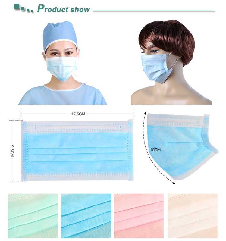3 ply surgical face mask, black medical mask with BFE 99%