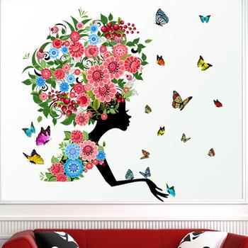 Butterfly Flower Girl Kids Living Room Home Decoration PVC Waterproof Wallpaper Wall Sticker