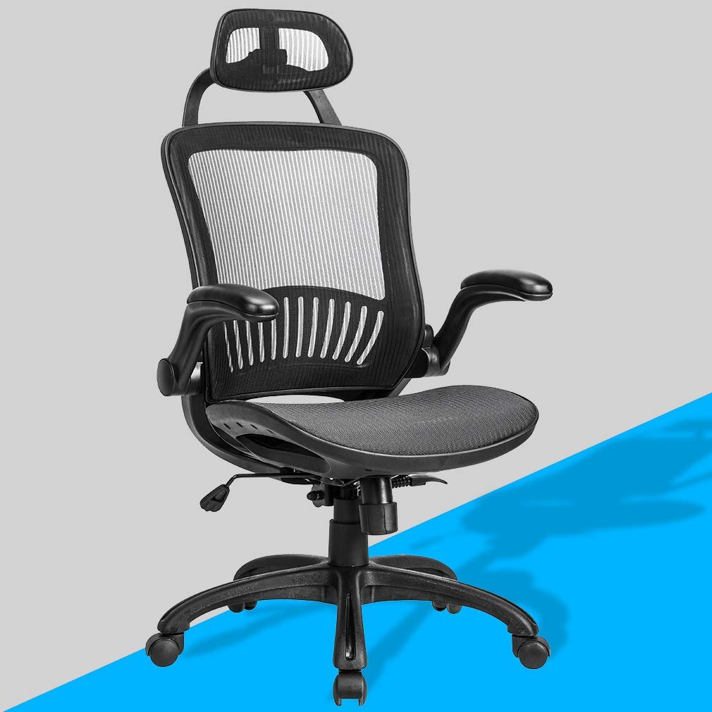 BestMassage Ergonomic Mesh Office Chair, Desk Computer Swivel Rolling Executive Task Adjustable Chair with Headrest & Lumbar Support