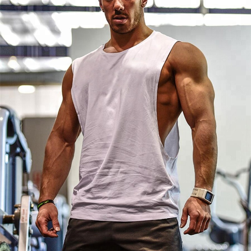 Mannen Cut Out Mouwloos Shirt Gym Stringer Vest Blank Workout T-Shirt Spier Tee Bodybuilding Tank Top Fitness Kleding