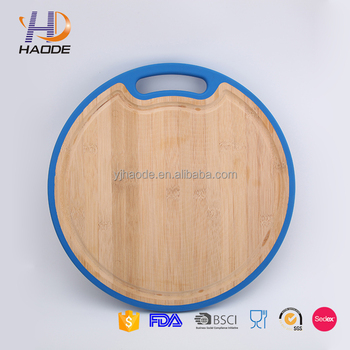 Hot selling colorful round bamboo cutting board with nonslip TPR edge
