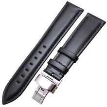 Гладкие ремешки для часов из натуральной кожи, черные, коричневые, 18, 19, 20, 21, 22, 24 мм, ремешок для часов, браслет со стальной застежкой(China)