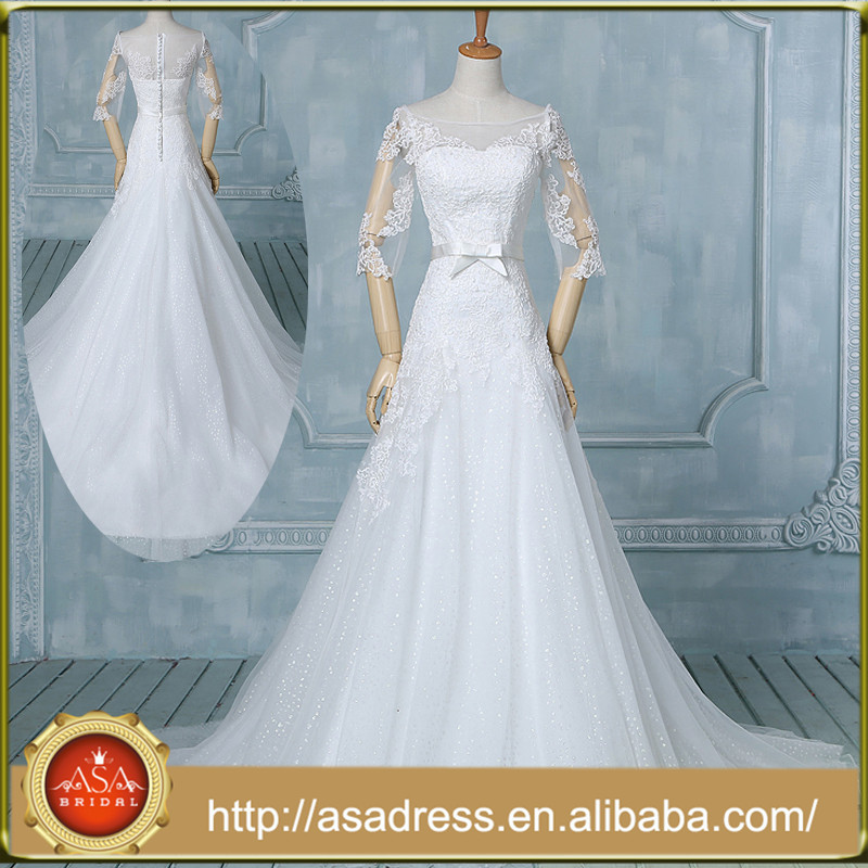 Latest Modern 1/2 Sleeve Wedding Dress for Fat Woman Wedding Gown Real Images Lace Wedding Dresses (ASASW-005)
