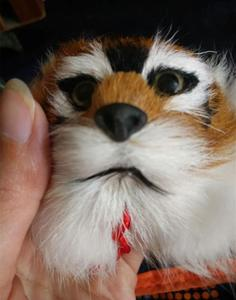 Two-sided tiger head raccoon hair pendant
