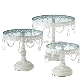 Cs856 Beaded Ivory Wedding Cake Stand Pearls Lace And Quilted Picture