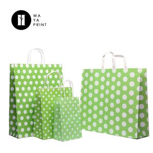 be25303df8 Factory Custom Retail coloring printed green polka dot paper bag