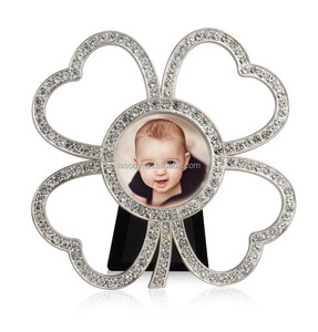 Simple design metal picture photo frame with clover shaped