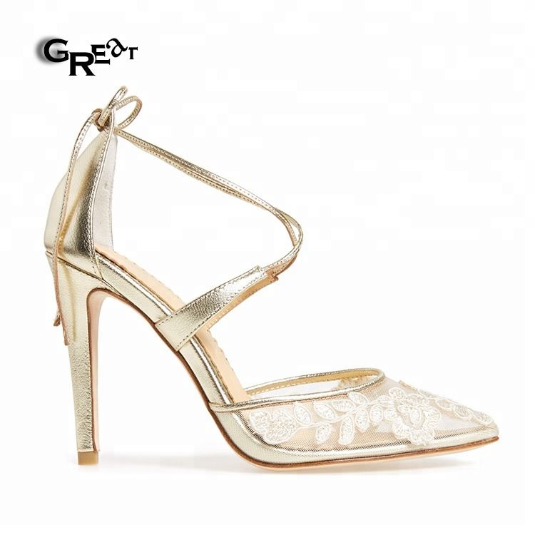 Luxury Ankle Strap Shoes Embroidery Mesh Women <strong>Heels</strong>