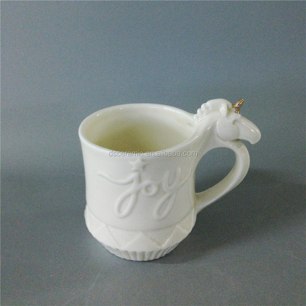 cheap white unicorn shape porcelain ceramic coffee cup mug with handle