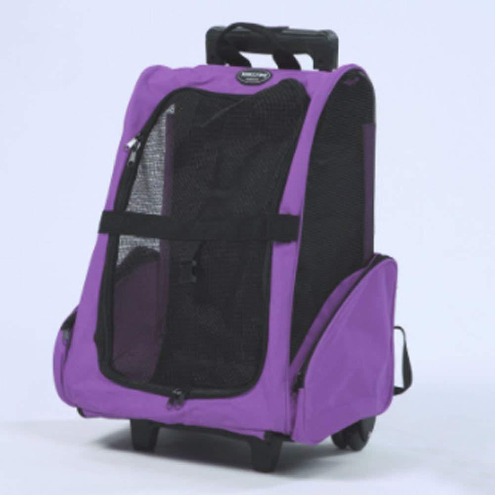 Pet double wheel double lever luggage bag carrying bag pet bag dog bag pet out bag shoulder bag backpack(Purple,35 25 42)