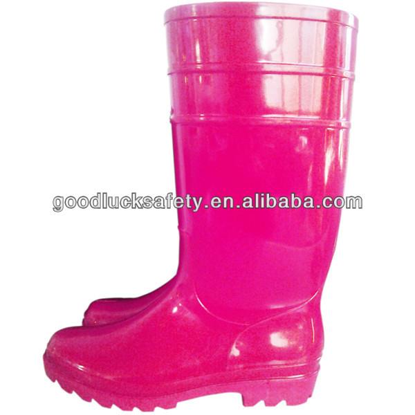069ad3f7476 Mulheres PVC Botas de Chuva de Plástico Cor de Rosa Vermelho ...