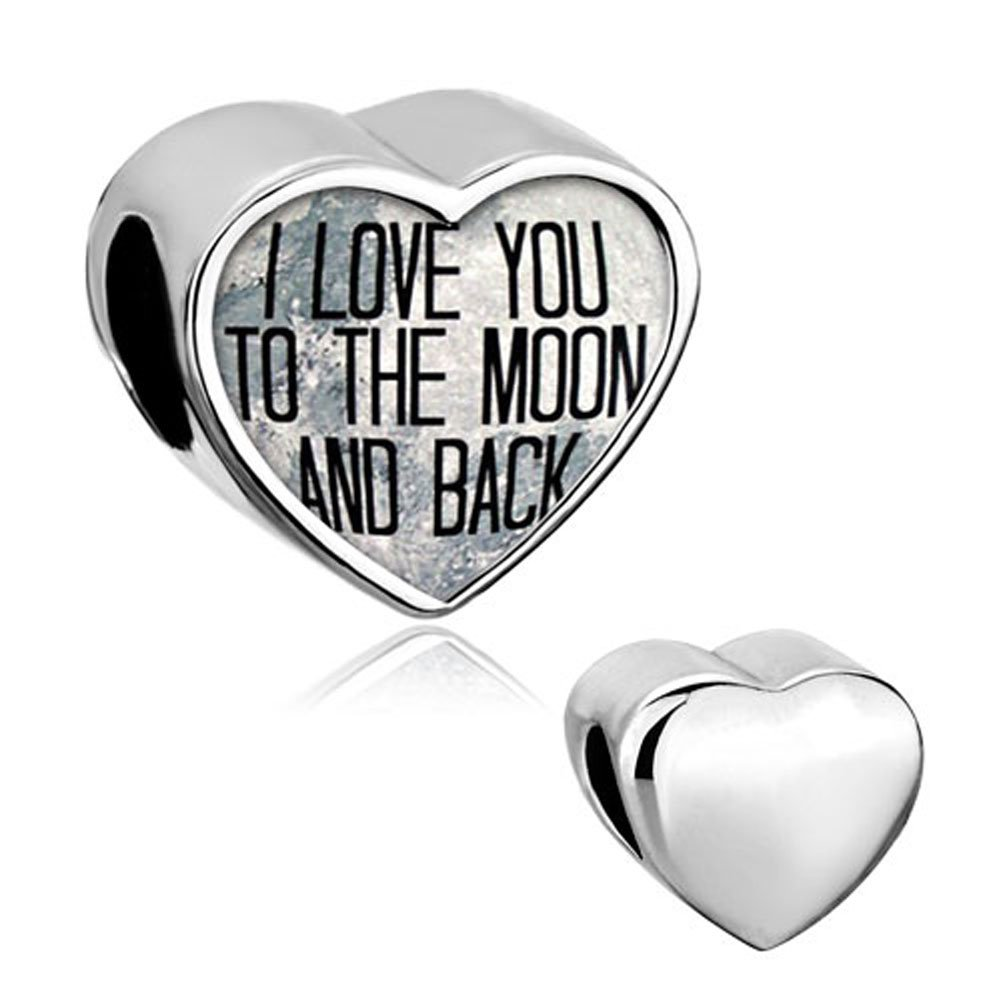0fec6d668 Get Quotations · Mother's Day Gifts Sterling Silver Heart L Love You To The  Moon And Back Charm Beads