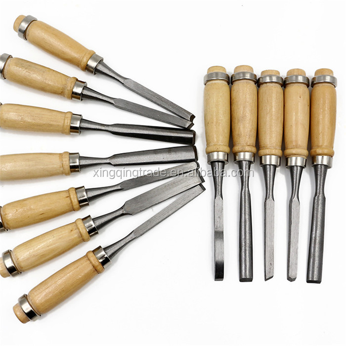 12Pcs Manual Wood Carving Hand Chisel Tool Set Carpenters Woodworking Detailed