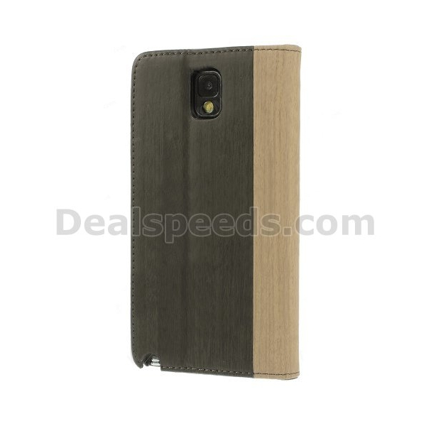 For Samsung Galaxy Note 3 N9005 N9002 N9000 Wood Grain Card Holder Stand Leather Case