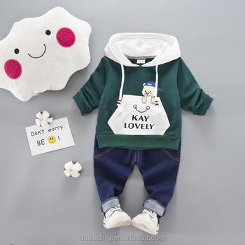 e13db9768 Estilo coreano otoño amor chico Supremo Sudadera con capucha deportes conjuntos  de ropa para niños recién