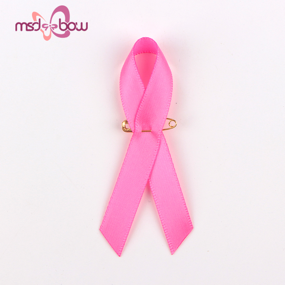 Pre-made pink bow breast cancer awareness ribbon with safety pin
