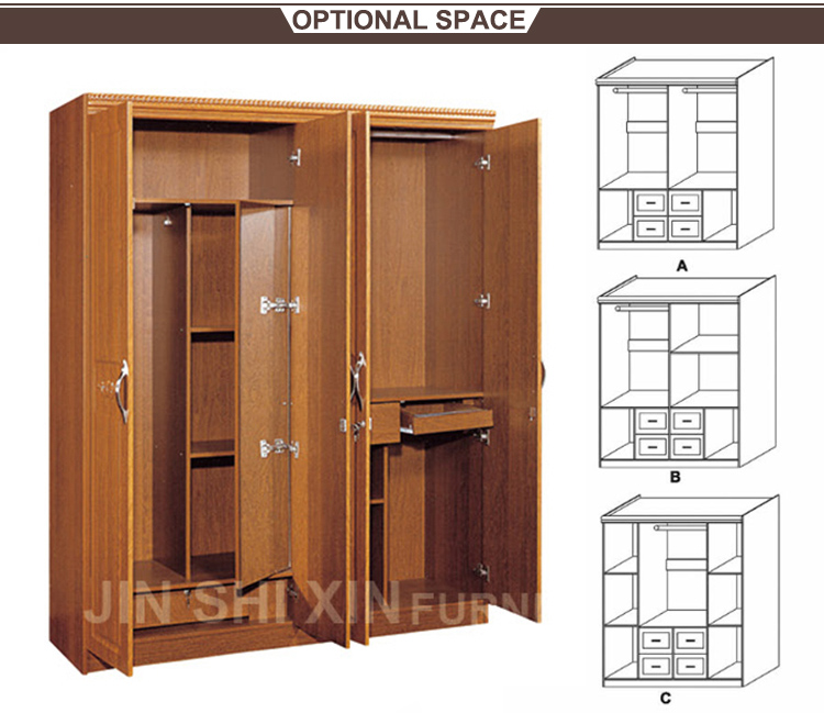 Home Furniture Wood Almirah Designs 4 Door Wardrobe