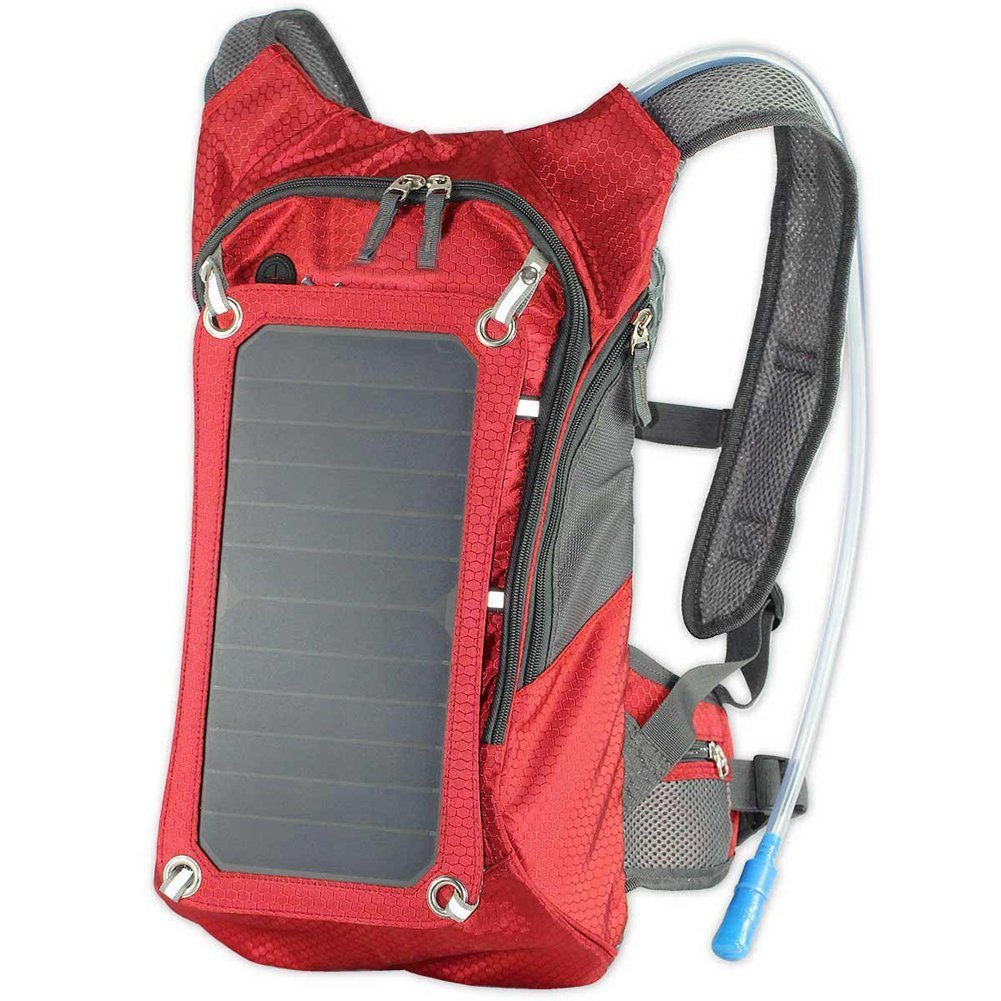 Koolertron Hydration Sport Backpack Cycling Bicycle Bike Hiking Climbing Pouch With 1.8L Bladder Bag and 6.5W Waterproof Solar Powered Panel Charging for iPhone/iPad/SAMSUNG/Tablets and Other 5V Device