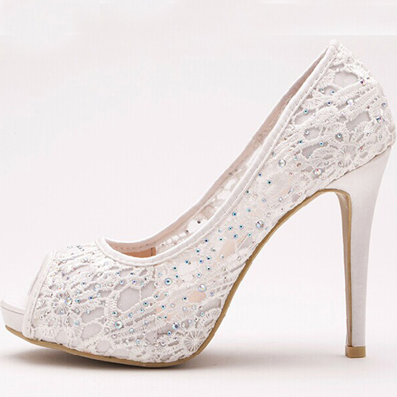Get Quotations · 2015 Lace Peep Toe High Heels Rhinestone Bridal Shoes Woman  Platforms White Party Prom Pump Bridesmaid 54c865330720