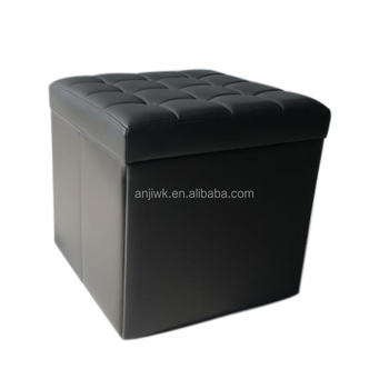 Foldable Leather Fabric Storage Ottoman Stool With Removable Lid