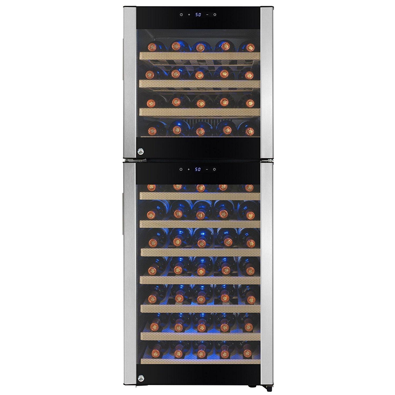 FIREBIRD 73 Bottles Dual Zone Stainless Steel Door Built-in Compressor Freestanding Electric Wine Cooler Chiller Refrigerator w/ Touch Control