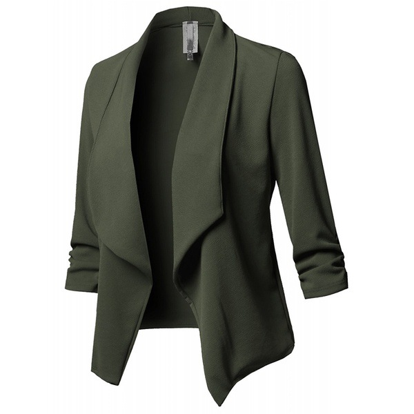Hot Sale New Design Women Formal Coat Slim Long Sleeved Pleated Solid Color Versatile Small Blazer