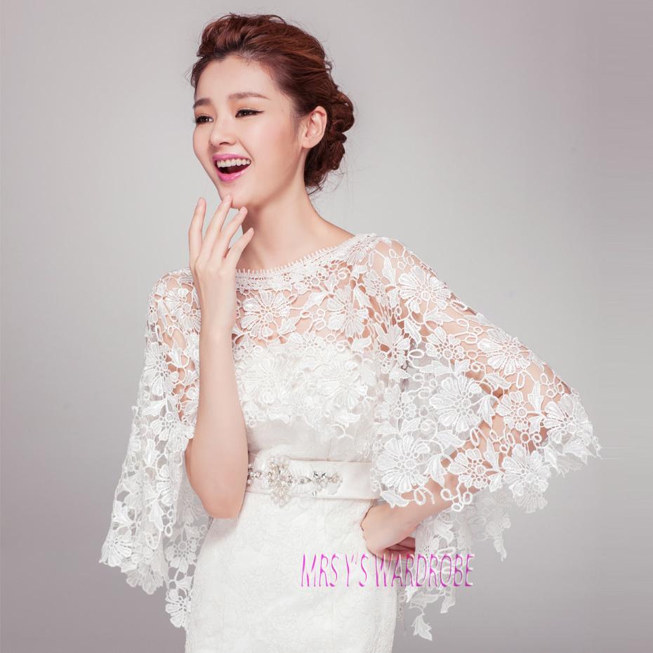 Wedding Gown Wraps: Elegant Half Hollow Lace Shawl Bridal Wraps For Wedding