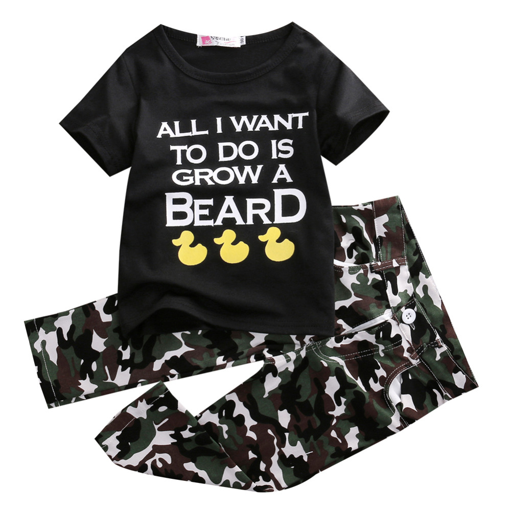 3384d3f5a62ec New 2016 Summer Kids Clothes 2pcs Boys Outfits T-shirt Tops+camouflage pants  Casual Boys Clothing Set