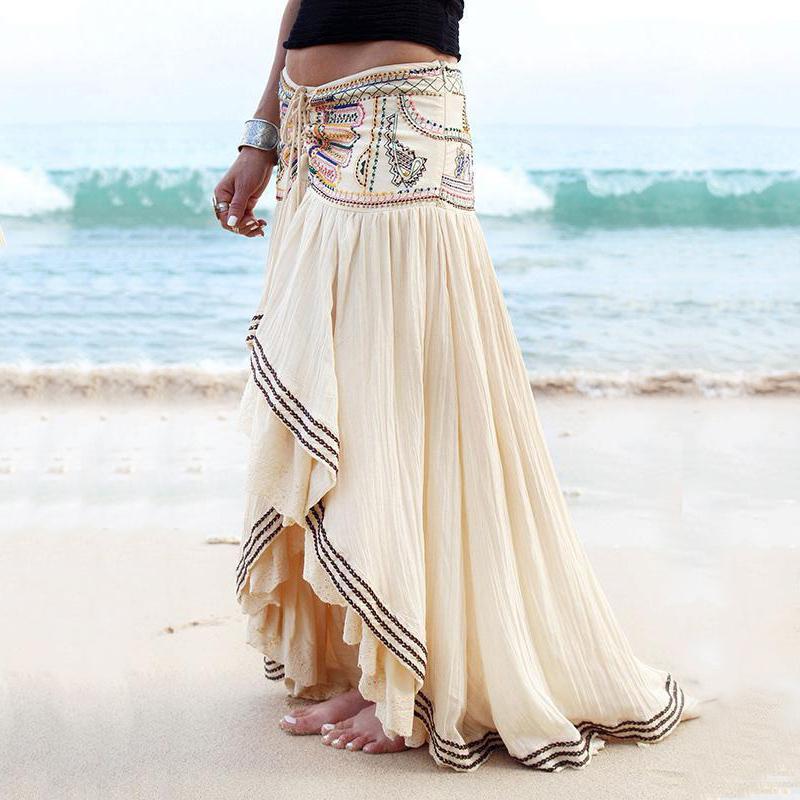 Oldukça özel işlemeli boncuklu müslüman etnik tarzı hint plaj kıyafeti vintage zarif bayan uzun etek