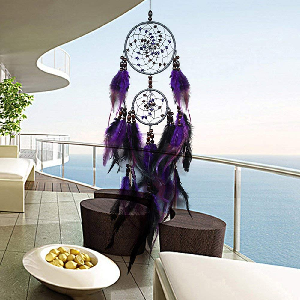 2ca0571734c Get Quotations · F.L.S New Feather Crafts Purple Dream Catcher Wind Chimes  Handmade Dreamcatcher Net With Beads For Wall