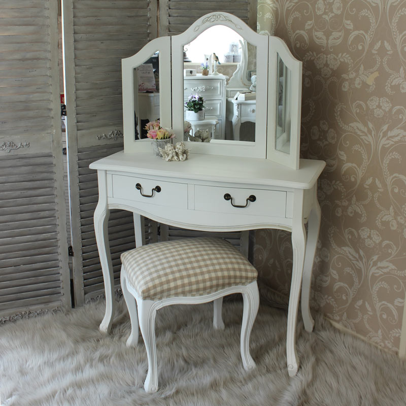 Dressing Table With Mirror Makeup French Wooden Dresser 3 Drawers Antique Vanity Set Wood Make Up Folding Mir Modern