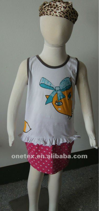 Cute Printed Girl's Short Sleeve Vest