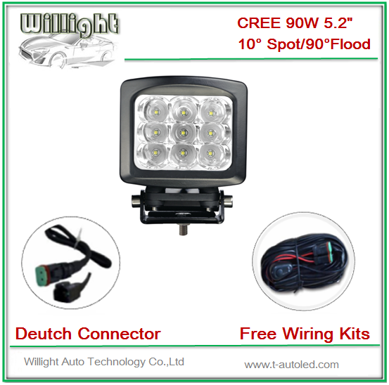 5.2 inch 90W CR-EE 12V 24V led work lights 7650LM with FREE wiring kits