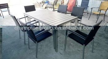 Fantastic Ar 0358 Aluminum Outdoor Furniture Wpc Table Rattan Chairs Buy Wpc Tables Aluminum Rattan Garden Chair Wood Table Chairs Product On Alibaba Com Theyellowbook Wood Chair Design Ideas Theyellowbookinfo