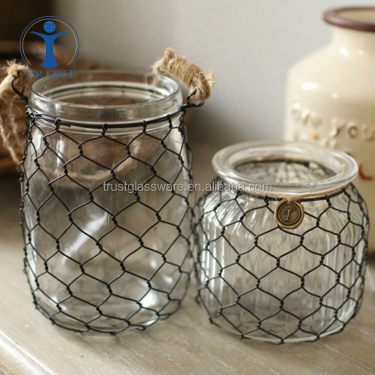 Wholesale Cheap Hot Sale Clear Home Decoration Flower Glass Vase With Rope Decoration